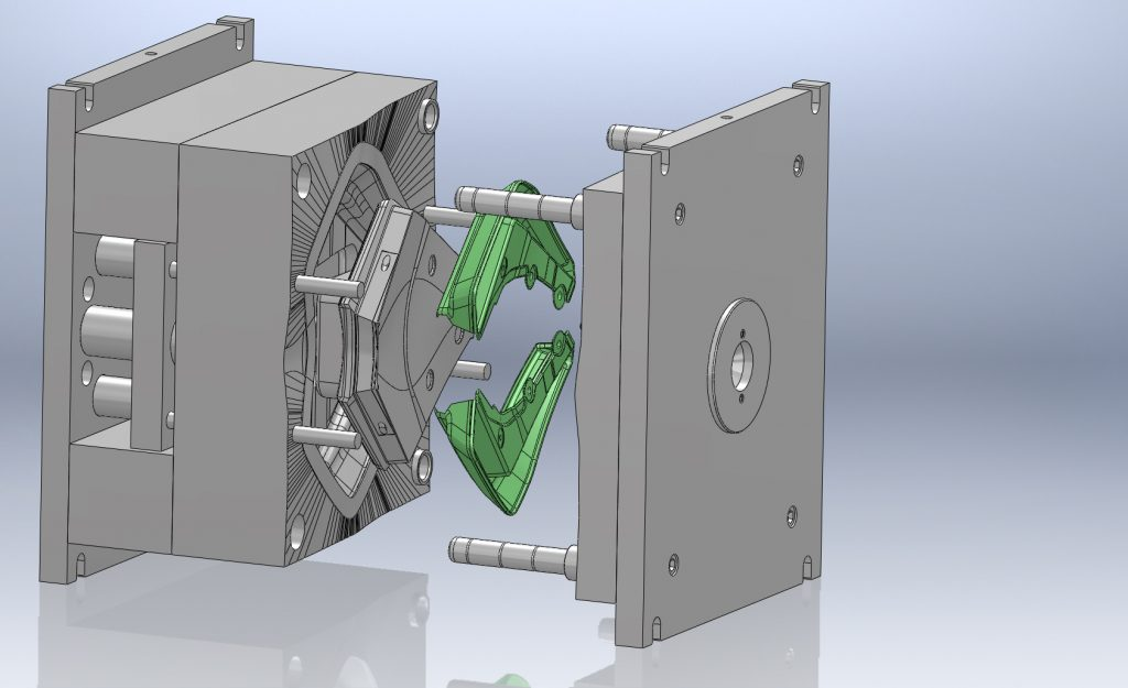 Tool Mould with cavity open displaying part